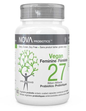 Compléments alimentaires. Probiotiques pour Femmes. Sans Produit Laitier. VEGAN Féminin - NOVA Probiotics. 27 Milliards d'UFC par capsule entérosoluble.