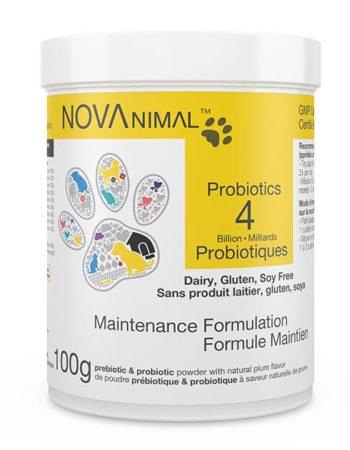 Poudre de prébiotique et probiotiques pour Chiens et Chats. NOVAnimal - Formule Maintien. 4 Milliards de microorganismes par cuillère-dose.