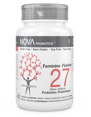 Compléments Alimentaires. Probiotiques pour Femmes. Féminin - NOVA Probiotics. 27 Milliards de microorganismes par capsule entérosuble pour maintenir une flore intestinale saine et équilibrée.