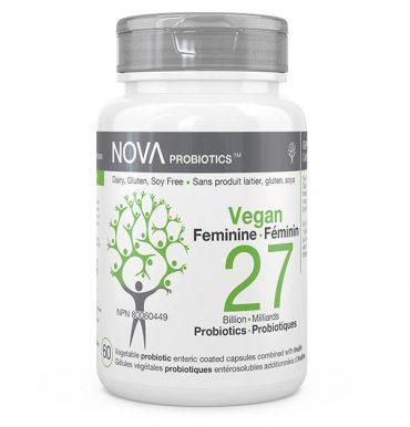 Supplément Probiotique pour Femmes. Sans Produit Laitier. VEGAN Féminin - NOVA Probiotics. 27 Milliards d'UFC par capsule entérosoluble.