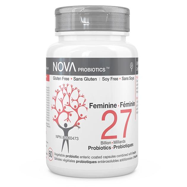 Supplément Probiotique pour Femmes. Féminin - NOVA Probiotics. 27 Milliards de microorganismes par capsule entérosuble pour maintenir une flore intestinale saine et équilibrée.