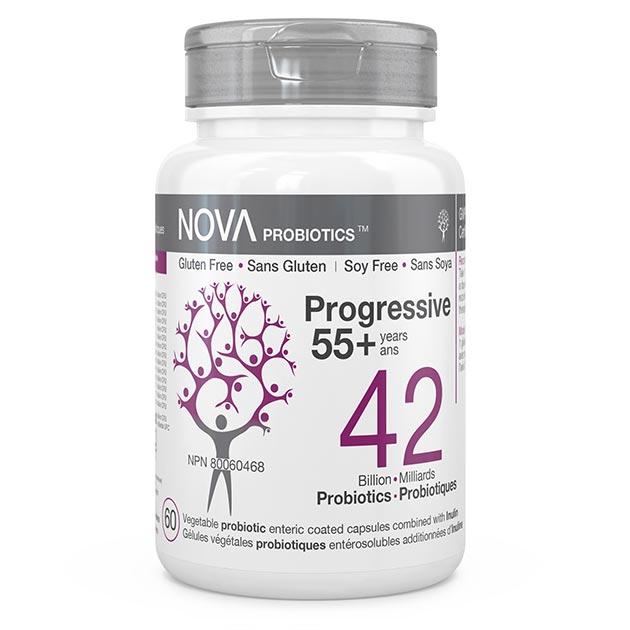 Supplément Probiotique pour Adultes. Progressive 55+ ans - NOVA Probiotics. 42 Milliards de bactéries bénéfiques par capsule entérosuble pour préserver la santé globale et stimuler l'immunité.
